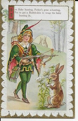 Antique / Vintage Postcard 1900's Bye Baby Bunting, Father's Gone Nursery Rhyme