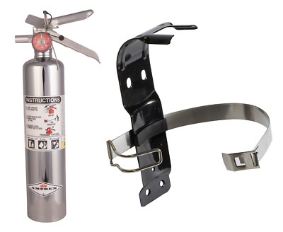 Amerex 2.5lb ABC Chrome Marine Boat Fire Extinguisher & Bracket B417C / 417TCAX