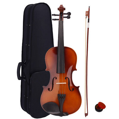 US Natural Acoustic Violin Fiddle 4/4 Full Size with Case and Bow Rosin Wood New
