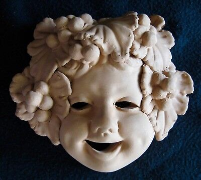 TERRA COTTA HAPPY FACE MASK Italy Clay Wall Hanging Plaque Grape Vines Wine