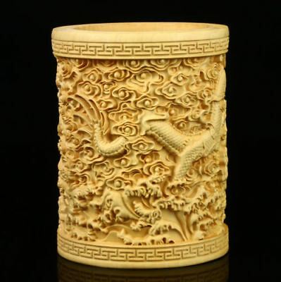 Chinese Boxwood Hand Carved Dragon Exquisite Brush Pot 001