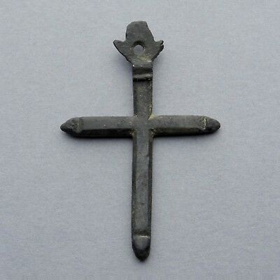 French, Antique Medieval Religious Bronze Cross. Large Pendant, Medal.