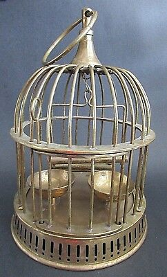 Vintage Solid Brass Bird Cage House Feeder Bowls Perch Hanging - India