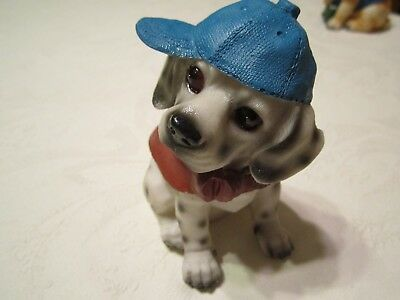 Vintage Spotted Dalmatian Puppy Dog Figurine  - Hand Painted Resin