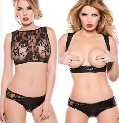 Ladies Fetish Bra & Underwear Lingerie Set Faux Leather Lace Babydoll Nighty M