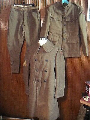 Antique Vintage WWi Army Uniform Jacket, Pants Overcoat 27th Infantry Division