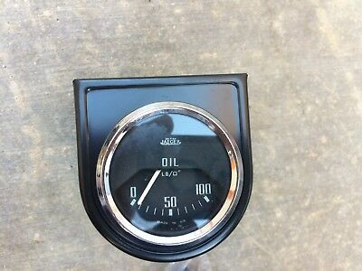 Used Jaeger-Smith Oil Pressure Gauge with black mounting plate - Triumph, MG, Mo