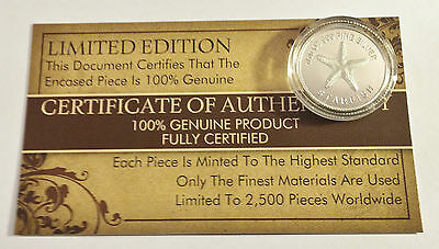 """New 2014 Certified """"STARFISH"""" 1/10th OZ 999.0 Pure Silver Proof Coin (a)"""