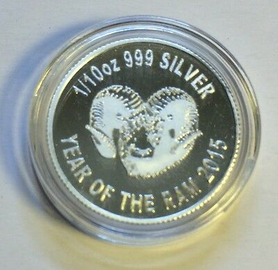 """2015 NEW  """"YEAR OF THE RAM"""" 1/10th OZ 999.0 Pure Silver Proof Coin C.O.A,"""