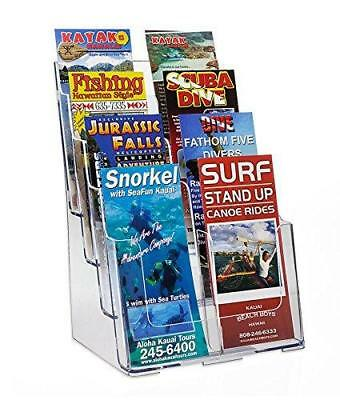 Source One 8 Pocket 4 Tier Clear Acrylic Brochure Holder Organizer Counter Top