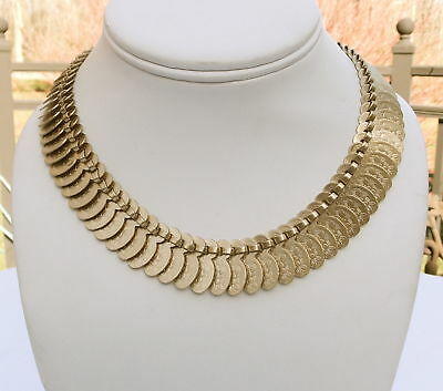 Vintage Coro Gold Tone Etched Egyptian Revival Chocker Necklace
