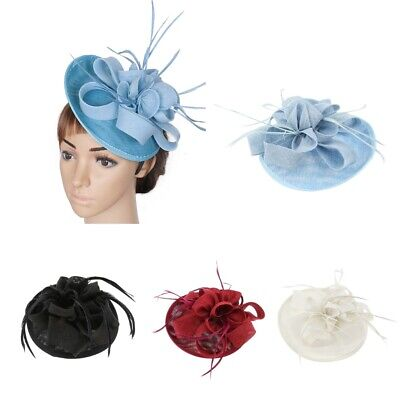 Women Cocktail Bridal Feather Fascinator 1920s  Pillbox Hat Hair Clip