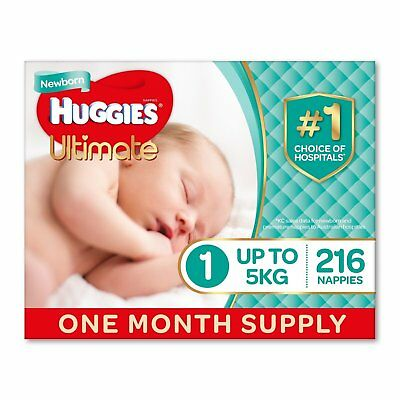 Huggies Ultimate Nappies, Unisex, Size 1 Newborn (Up To 5kg) 216 Count, 1 month