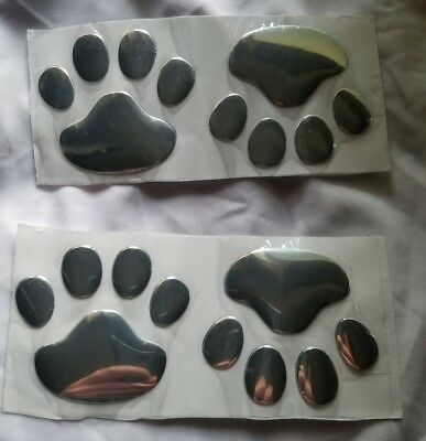 4 chrome paw print decals auto decal