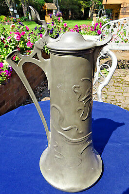 Art Nouveau Hinged Pewter Water Jug Gorgeous Flower and Vines Vintage 1900