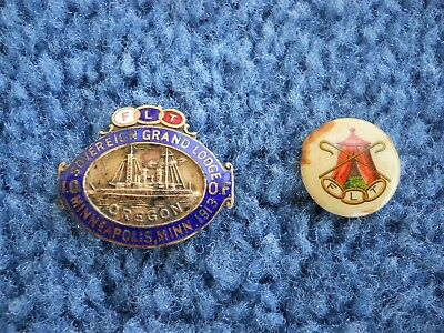 1913 IOOF Odd Fellows Pin with USS Oregon Battleship and a 1896 IOOF pin button