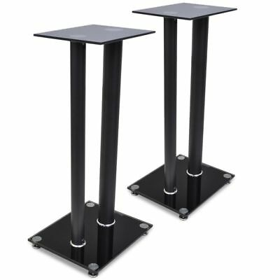 2pcs Speaker Stands Pair Glass Aluminum Black w/ 2 Pillar Monitor Floor Studio
