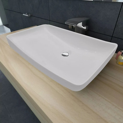 "vidaXL Ceramic Washbasin Rectangular 28""x15"" White Bathroom Vessel Sink Bowl"