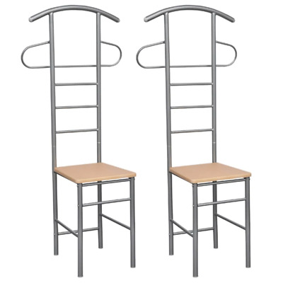 vidaXL Set of 2 Chairs Stands Valet Suit Rack Hanger Organizer Clothes Butler