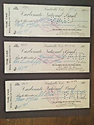 6 Leadville CO checks c1902:YAK mining,milling,tunnel Co, on Carbonate Bank