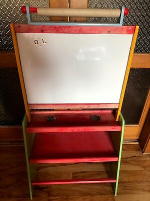 Childrens Painting Easel, with magnet/white board, black board and 2 shelves...