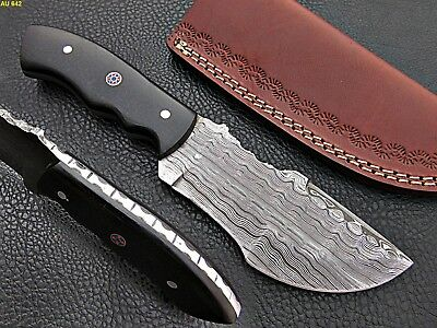 Custom Hand Made Damascus steel Hunting Tracker Knife With Micarta Handle.