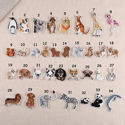 Embroidery Animal Patch Iron On Sew On Badge Clothes Fabric Applique Craft US