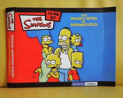 The Simpsons 16 Pin Set The Who's Who Of Springfield Complete Album Set