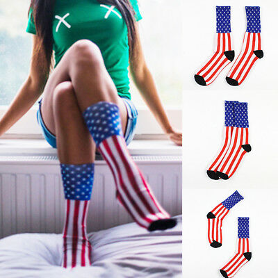 Fashion American USA Star Flag Stripes Old Glory Dress Casual Crew Socks