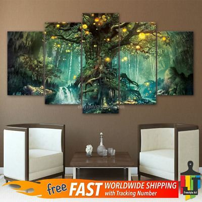 5 Piece Tree of Life Wall Art Hanging Decor Canvas Print Large Painting Pictures