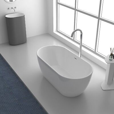 Bathroom Acrylic Free Standing Bath Tub Thin Edge 1500 or 1650 Size  MATT WHITE
