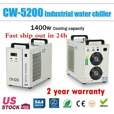 S&A CW-5200DG Industrial Water Chiller for 130W / 150W CO2 Glass Laser Tube-US