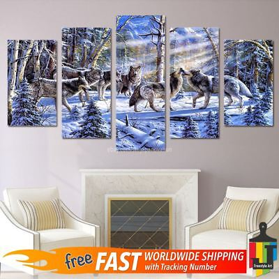 5 Pcs Home Decor Canvas Print Painting Wall Art Wolf Wolves Snow Forest Group