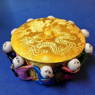 New - Chinese Yellow Satin - Lidded Sewing Trinket Pin Box - Ringed by 10 People