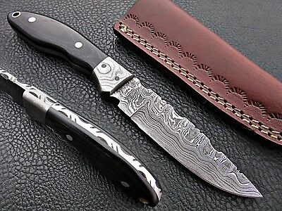 Custom Hand Made Damascus steel Hunting Skinner Knife With Micarta Handle. 650