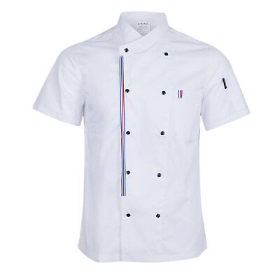 Double Breasted Chef Jackets Coat Short Sleeves Shirt Kitchen Uniforms Unisex