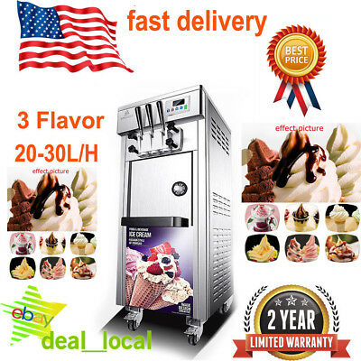3 Flavor Soft Ice Cream Maker Frozen Yogurt Machine 20-30L/H Commercial 110V