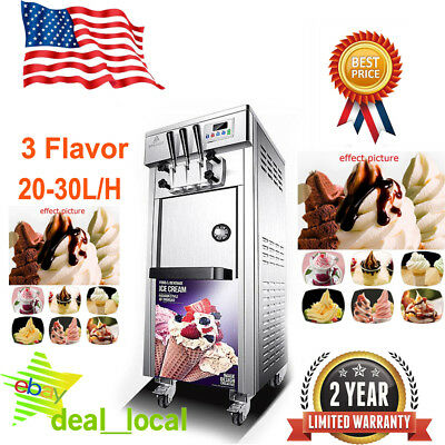 Commercial 20-30L/H 3 Flavor Soft Ice Cream Maker Frozen Yogurt Machine 110V