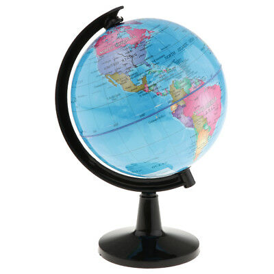 16cm Swivel Stand World Globe for Desk Decoration Geography Education Blue