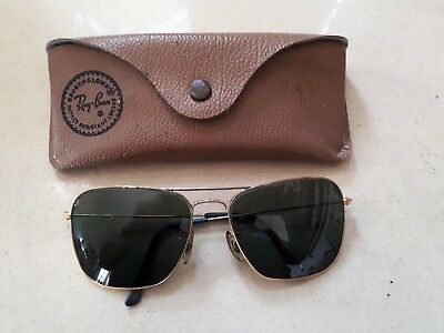 Genuine vintage RAY BAN sunglasses, Aviator type,triangle green lens