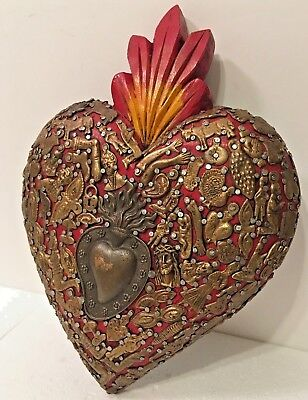 Mexican Folk Art Milagros Sacred Heart Red Wood Wall Plaque Ex Voto