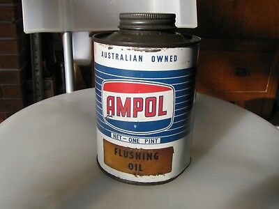 Ampol 1 pint oil tin 1960's small dings rub's Ampol Lid collectable item