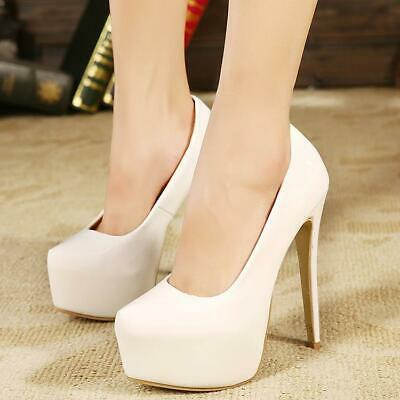 Womens Platform High Heel Court Shoes Ladies Smart Formal Party Prom Sizes A15-1