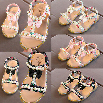 Baby Kids Girl Toddler Summer Beach Princess Pearl Bow Flat Sandals School Shoes