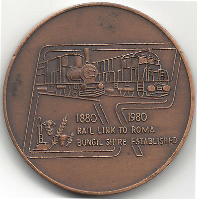1980 Rail Link To Roma Bungil Shire Bz 47mm Centenary Commemorative Medal by Sto