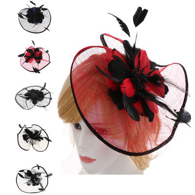 Fascinator Headband Sinamay Hat Feather Flower Clip Hair Band Wedding Party