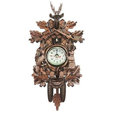 Retro Vintage Style Wall Clock Hanging Handcraft Wooden Cuckoo Clock