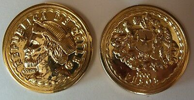 Chile, Columbus Gold Plated Fantasy Coin, Private Mintage, Only 2 Exist