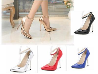 Womens Court Shoes Party High Heel Stilettos Ankle Strap Work Office Smart 1320