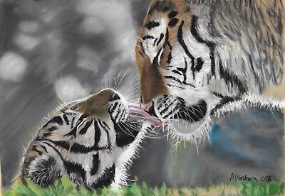 Original Painting Of A Tiger And Cub